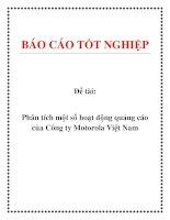 Đề tài: Phân tích một số hoạt động quảng cáo của Công ty Motorola Việt Nam pdf