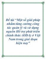 """Đề tài """"Một số giải pháp nhằm tăng cường công tác quản lý và sử dụng nguồn Hỗ trợ phát triển chính thức (ODA) ở Việt Nam trong giai đoạn hiện nay"""