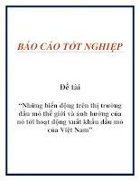 """Đề tài """"Những biến động trên thị trường dầu mỏ thế giới và ảnh hưởng của nó tới hoạt động xuất khẩu dầu mỏ của Việt Nam"""" doc"""