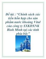 """Đề tài : """"Chính sách xúc tiến hỗn hợp cho sản phẩm nước khoáng Vital của công ty SXKDXNK Bình Minh tại các tỉnh phía bắc"""" ppt"""