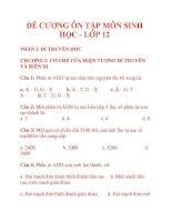 ĐỀ CƯƠNG ÔN TẬP MÔN SINH HỌC - LỚP 12 docx