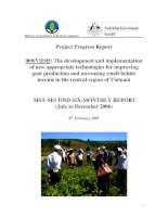 Project Progress Report: The development and implementation of new appropriate technologies for improving goat production and increasing small-holder income in the central region of Vietnam - MS3