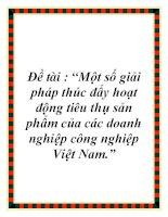 """Đề tài : """"Một số giải pháp thúc đẩy hoạt động tiêu thụ sản phẩm của các doanh nghiệp công nghiệp Việt Nam."""" doc"""