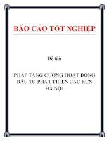 Đề tài: PHÁP TĂNG CƯỜNG HOẠT ĐỘNG ĐẦU TƯ PHÁT TRIỂN CÁC KCN HÀ NỘI pdf