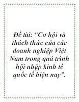 """Đề tài: """"Cơ hội và thách thức của các doanh nghiệp Việt Nam trong quá trình hội nhập kinh tế quốc tế hiện nay"""". pot"""