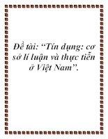 """Đề tài: """"Tín dụng: cơ sở lí luận và thực tiễn ở Việt Nam"""". pdf"""