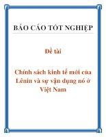 Đề tài: Chính sách kinh tế mới của Lênin và sự vận dụng nó ở Việt Nam doc