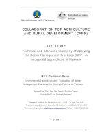 Collaboration for Agriculture & Rural Development: Technical and economic feasibility of applying the Better Management Practices (BMP) to household aquaculture in Vietnam - MS 8