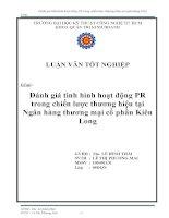 Đánh giá tình hình hoạt động PR trong chiến lược thương hiệu tại ngân hàng thương mại cổ phần Kiên Long