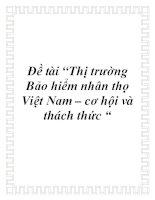 """Đề tài """"Thị trường Bảo hiểm nhân thọ Việt Nam – cơ hội và thách thức """" doc"""