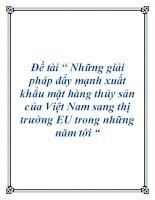 """Đề tài """" Những giải pháp đẩy mạnh xuất khẩu mặt hàng thủy sản của Việt Nam sang thị trường EU trong những năm tới """" doc"""