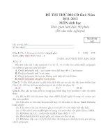 ĐỀ THI THỬ ĐH-CĐ lần1-Năm 2011-2012 MÔN sinh học Thời gian làm bài: 90 phút; (50 câu trắc nghiệm) ppt