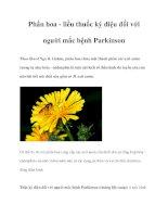 Phấn hoa - liều thuốc kỳ diệu đối với người mắc bệnh Parkinson docx