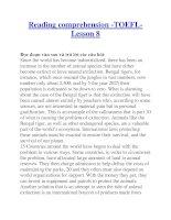 Reading comprehension -TOEFLLesson 8 potx