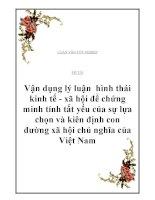 """Đề tài: """"Vận dụng lý luận hình thái kinh tế - xã hội để chứng minh tính tất yếu của sự lựa chọn và kiên định con đường xã hội chủ nghĩa của Việt Nam"""