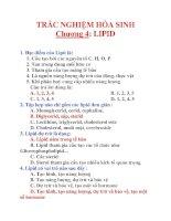 TRẮC NGHIỆM HÓA SINH Chương 4: LIPID doc