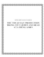 Thủ thuật dạy Production trong tiết Listen and read của Tiếng Anh lớp 9