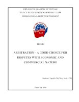 ARBITRATION – A GOOD CHOICE FOR DISPUTES WITH ECONOMIC AND COMMERCIAL NATURE