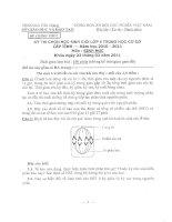 đề thi và đáp án thi chọn học sinh giỏi sở tiền giang môn sinh học lớp 9 năm 2011