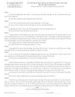 đề thi và đáp án thi học sinh giỏi môn sinh sở vĩnh phúc 2013