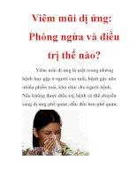 Bệnh viêm mũi dị ứng những cách đề phòng và cách chữa hiệu quả; những cây thuốc, những món ăn chữa viêm mũi dị ứng