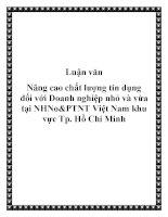Luận văn: Nâng cao chất lượng tín dụng đối với Doanh nghiệp nhỏ và vừa tại NHNo&PTNT Việt Nam khu vực Tp. Hồ Chí Minh pptx
