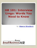 Interview Lingo: Words You Need to Know By: Dianne Shaddock doc