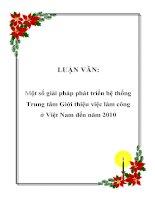 LUẬN VĂN: Một số giải pháp phát triển hệ thống Trung tâm Giới thiệu việc làm công ở Việt Nam đến năm 2010 ppt