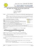 Đề kiểm tra chứng chỉ tin học quốc gia trình độ A- 2 - đại học An Giang ( 11/3/2012) ppt