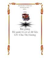 Bài giảng Hệ quản trị cơ sở dữ liệu - Chu Thị Hường ppt