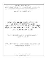 Đề tài: GIẢI PHÁP PHÁT TRIỂN SẢN XUẤT KINH DOANH NƯỚC SẠCH TẠI CÔNG TY TRÁCH NHIỆM HỮU HẠN MỘT THÀNH VIÊN KINH DOANH NƯỚC SẠCH THÁI NGUYÊN pdf