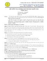 Đề kiểm tra chứng chỉ tin học quốc gia trình độ A-1 - đại học An Giang ( 26/6/2011) doc