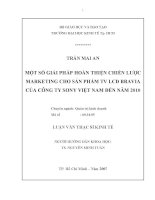 Đề tài: MỘT SỐ GIẢI PHÁP HOÀN THIỆN CHIẾN LƯỢC MARKETING CHO SẢN PHẨM TV LCD BRAVIA CỦA CÔNG TY SONY VIỆT NAM ĐẾN NĂM 2010 pdf