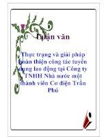Luận văn: Thực trạng và giải pháp hoàn thiện công tác tuyển dụng lao động tại Công ty TNHH Nhà nước một thành viên Cơ điện Trần Phú pptx