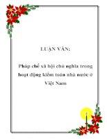 LUẬN VĂN: Pháp chế xã hội chủ nghĩa trong hoạt động kiểm toán nhà nước ở Việt Nam pot
