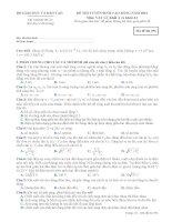 ĐỀ THI TUYỂN SINH CAO ĐẲNG NĂM 2012 MÔN VẬT LÝ KHỐI A - MÃ ĐỀ 396 pptx