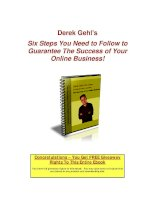 Derek Gehl's Six Steps You Need to Follow to Guarantee The Success of Your Online doc