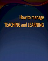 How to manage teaching & learning ppt