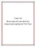 Luận văn Hoàn thiện kế toán thuế thu nhập doanh nghiệp tại Việt Nam doc