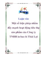 Luận văn: Một số biện pháp nhằm đẩy mạnh hoạt động tiêu thụ sản phẩm của Công ty TNHH in bao bì Thái Lợi docx