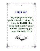 Luận văn: Xây dựng chiến lược phát triển thị trường của Công ty TNHH Nhà nước một thành viên cơ khí Hà Nội trong giai đoạn 2005 đến 2015 ppt