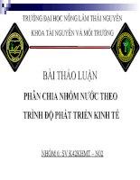 BÀI THẢO LUẬN PHÂN CHIA NHÓM NƯỚC THEO TRÌNH ĐỘ PHÁT TRIỂN KINH TẾ pot