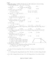 Đề thi kiểm tra cuối học kỳ 1 môn toán lớp 3 pot