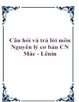 Câu hỏi và trả lời môn Nguyên lý cơ bản CN Mác - Lênin doc