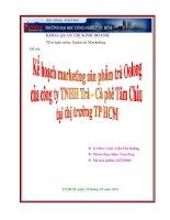 Kế hoạch marketing sản phẩm trà Oolong của công ty TNHH Trà - Cà Phê Tâm Châu tại thị trường Tp.hcm doc