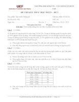 ĐỀ THI KẾT THÚC HỌC PHẦN MÔN XÁC SUẤT THỐNG KÊ TRƯỜNG ĐH KINH TẾ TÀI CHÍNH TP.HCM UEF – ĐỀ 1 pptx