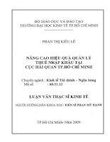 Đề tài: NÂNG CAO HIỆU QUẢ QUẢN LÝ THUẾ NHẬP KHẨU TẠI CỤC HẢI QUAN TP.HCM docx