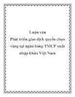 Luận văn: Phát triển giao dịch quyền chọn vàng tại ngân hàng TMCP xuất nhập khẩu Việt Nam pot