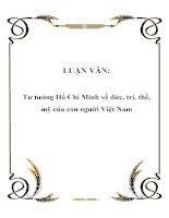 LUẬN VĂN: Tư tưởng Hồ Chí Minh về đức, trí, thể, mỹ của con người Việt Nam doc