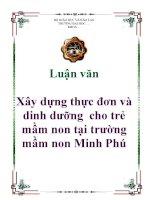 Luận văn: Xây dựng thực đơn và dinh dưỡng cho trẻ mầm non tại trường mầm non Minh Phú pptx